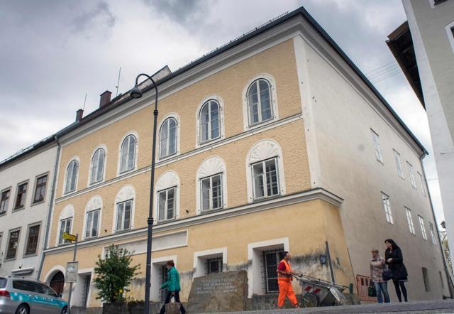 This file photo shows a memorial stone outside the house where Adolf Hitler was born in Braunau Am Inn, Austria.