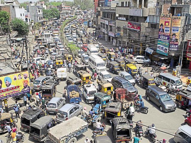 Vehicles stranded in a traffic jam in Amritsar on Thursday.