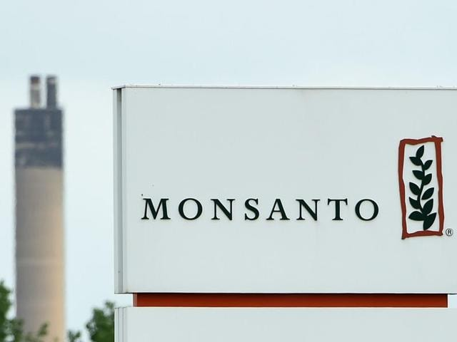 This file photo from Lillo near Antwerp shows the Monsanto logo at the firm's manufacturing site and operations centre.