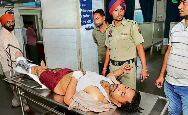 Injured PRTC bus driver Harpreet Singh admitted in Government Rajindera Hospital in Patiala on Thursday.