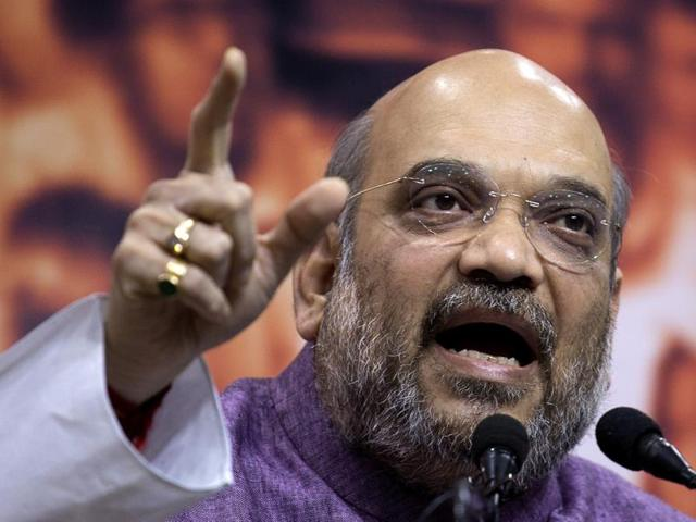 BJP president Amit Shah speaks at a press conference in New Delhi.