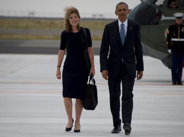 US President Barack Obama (R) walks with US ambassador to Japan Caroline Kennedy (L) as he leaves following the end of the G7 Summit, at Chuba Centrair International Airport in Tokoname, near Nagoya.