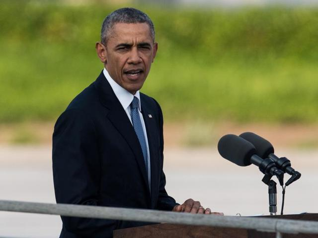 US President Barack Obama delivers a speech at the Hiroshima Peace Memorial park cenotaph in Hiroshima.