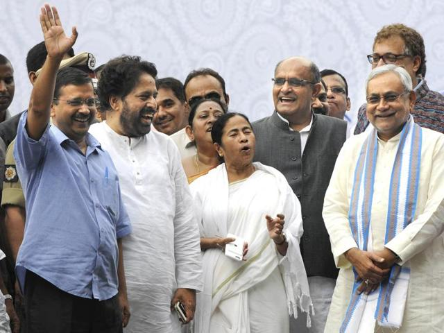 Delhi CM Arvind Kejriwal, Bihar CM Nitish Kumar, UP CM Akhilesh Yadav and RJD president Lalu Prasad Yadav were in attendance at Mamata Banerjee's swearing-in ceremonyin Kolkata.