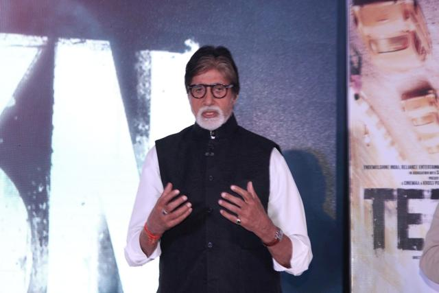 Actor Amitabh Bachchan during the music launch of his film Te3n in Mumbai on Friday.