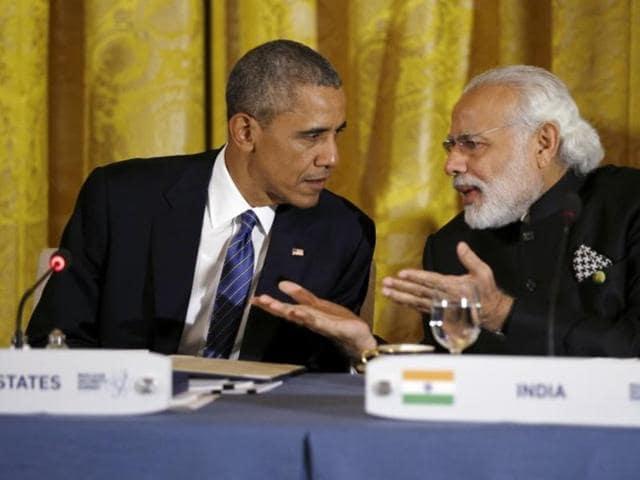 Prime Minister Narendra Modi and US President Barack Obama in New Delhi.