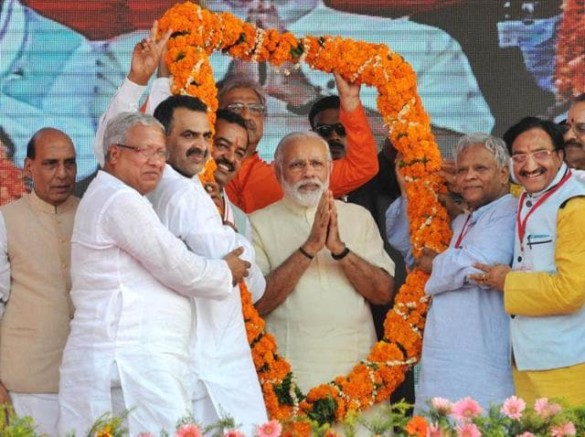 Prime Minister Narendra Modi speaks at a rally in Saharanpur district.