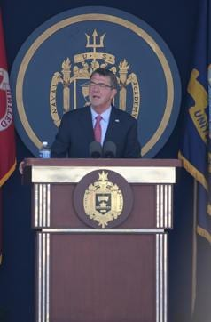 Pentagon chief Ashton Carter delivers the commencement speech to the class of 2016 during graduation ceremonies at the US Naval Academy on Friday.