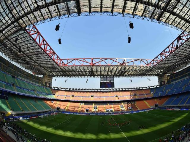 A picture shows the interior of the San Siro Stadium in Milan, on the eve of the Uefa Champions League final football match between Real Madrid and Atletico Madrid.