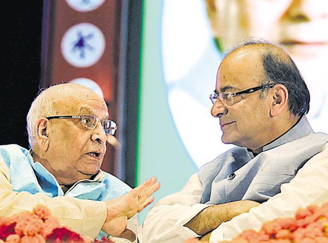 Union finance minister Arun Jaitely and senior BJP leader Lalji Tandon in Lucknow on Friday.