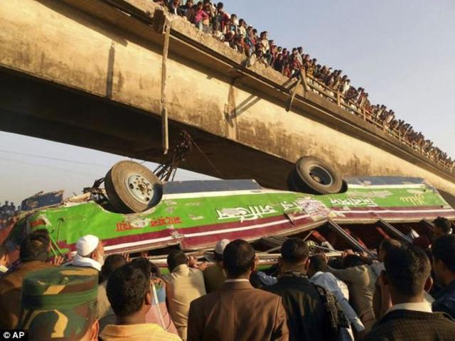 The bus carrying 60 passengers crashed through the bridge's railing and plunged into the canal on Friday.