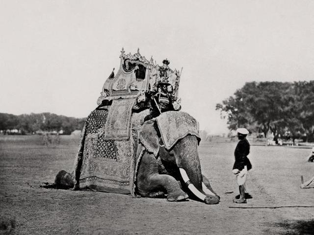 Vintage travel photographs by two Englishmen who brought an exotic 19th-century India to the curious British public are now part of a new exhibition in Delhi.    In this picture: Delhi, His Eminence, The Viceroy's Elephant, Delhi Durbar; Bourne & Shepherd, 1877. (Courtesy MAP/Tasveer)