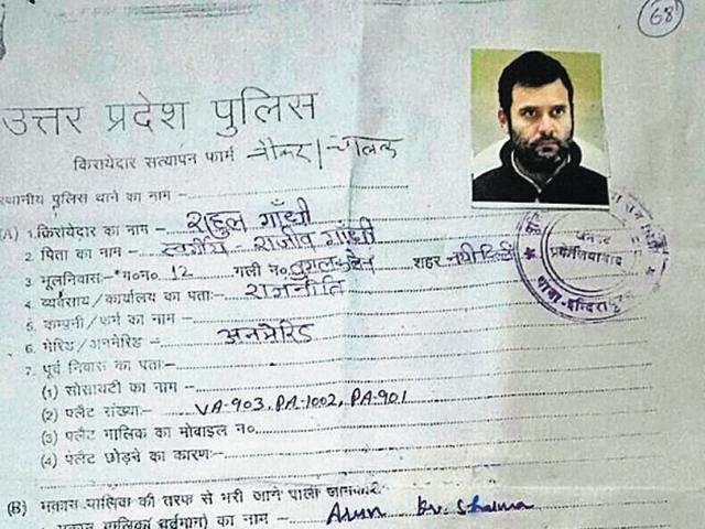 The form bears Rahul's photo, address of Tughlaq Road in Delhi and other details.
