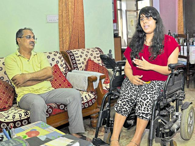 Twenty-six-year-old Meryl Mammen suffers from Pompe's disease. Even though the disorder has left her wheelchair bound, Mammen has still beaten all odds and completed her graduation as well as post graduation. Also seen is her father Shibu Mammen.