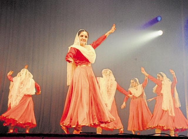 The Kathak performance by women corporate executives at Epicentre, Gurgaon, on Friday.