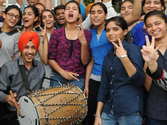 Students in a jubilant mood after declaration of CBSE Class 10 results, at Guru Nanak Foundation School in Patiala on Saturday.