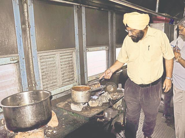 Railway staff during an inspection at the pantry of Malwa Express at the Ludhiana railway station on Friday.