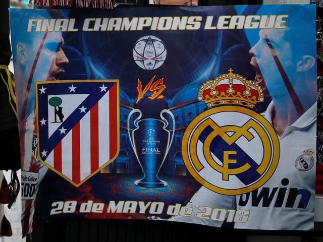 Souvenirs of the Uefa Champions League final between Atletico Madrid and Real Madrid are displayed at a souvenir store in downtown Madrid, Spain.