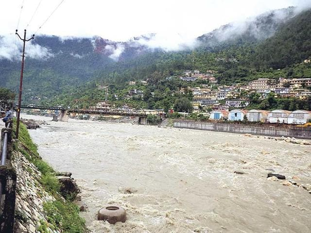A flooded river in Uttarakhand after the floods two years ago.