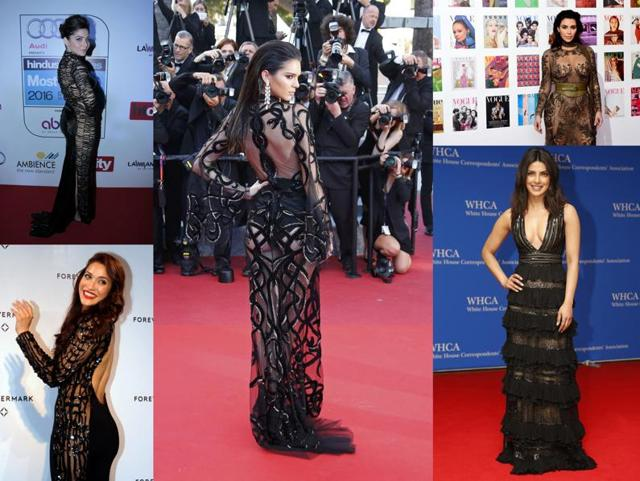 Here's model Kendall Jenner in a naked Cavalli Couture dress at Cannes.