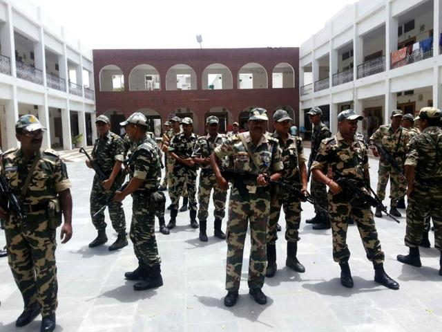 CRPF personnel deployed at the Jat Dharamshala in Hisar on Saturday amid threats of Jat leaders to resume quota agitation.