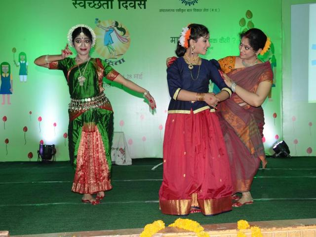 Girls perform a dance drama during a programme organised on Menstrual Hygiene Day in Bhopal on Saturday.