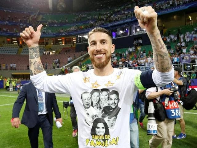 Real Madrid's Sergio Ramos celebrates after winning the UEFA Champions League.
