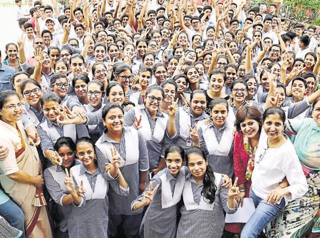 St Joseph Convent School students celebrating after the declaration of CBSE Class 10 results in Bathinda on Saturday.