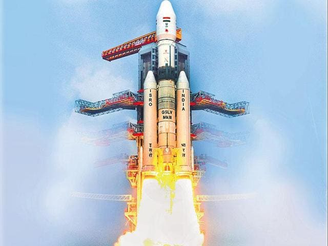 GSLV-Mk-III lifts off on its first experimental suborbital mission from Sriharikota on December 18, 2014. (ISRO)
