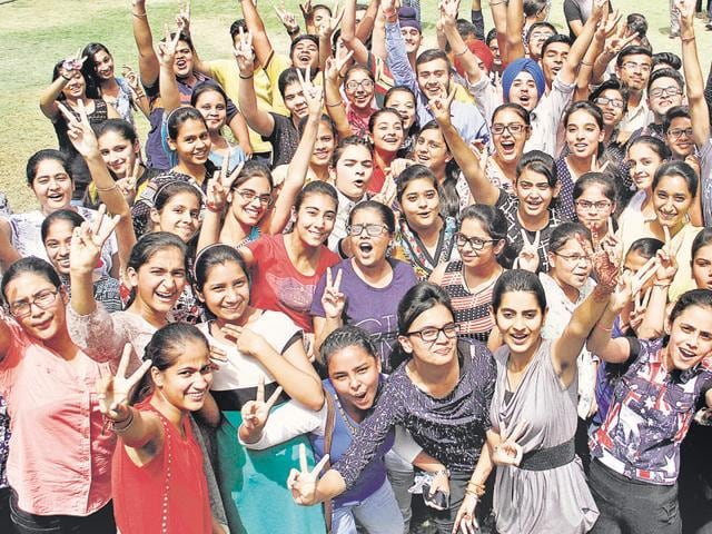 Students in jubilant mood after declaration of CBSE Class 10 results in Ludhiana on Saturday.