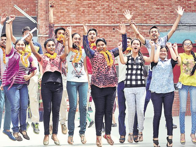Students in a jubilant mood after the declaration of the CBSE Class-10 results at DAV Public School in Patiala on Saturday.