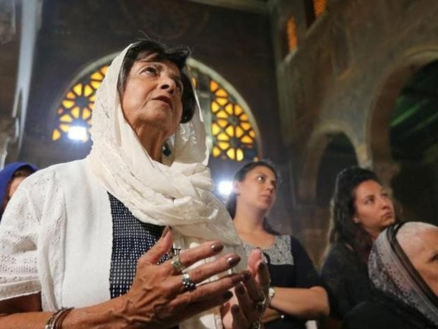 Relatives of the victims of the crashed EgyptAir flight MS804 attend an absentee funeral mass at the main Cathedral in Cairo.