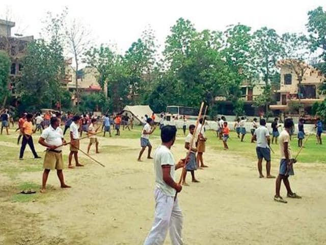 File photo of a Bajrang Dal training camp organised in Noida, Uttar Pradesh.