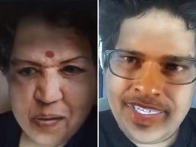 Combination image of comedian Tanmay Bhat playing the role of Lata Mangeshkar and Sachin Tendulkar in a video posted by him.