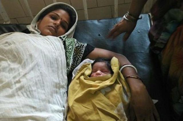 Aarti  delivered a baby boy in a PCR van in a Delhi hospital.