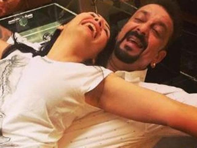 Sanjay Dutt and wife Maanayata enjoy some good time together.