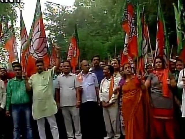 The Bharatiya Janata Party (BJP) on Monday protested in front of Congress president Sonia Gandhi's New Delhi residence over the party's statement on Batla House encounter.