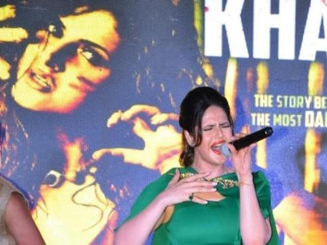 Zareen Khan at the launch of the new song Khallas from film Veerappan in Mumbai. (IANS)