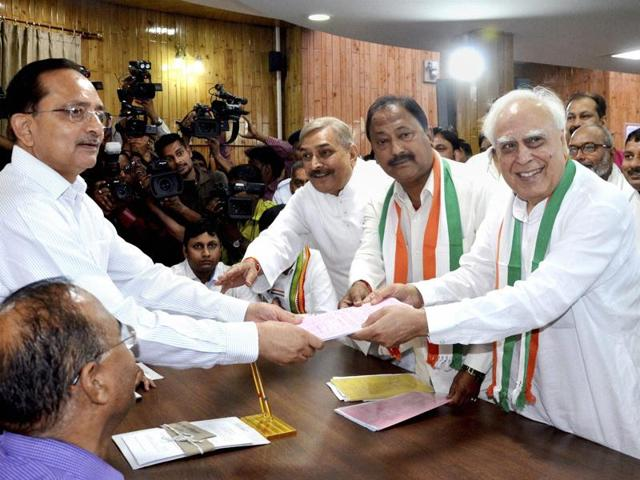Congress candidate Kapil Sibal files nomination papers for Rajya Sabha elections at Vidhan Bhawan in Lucknow on Monday.