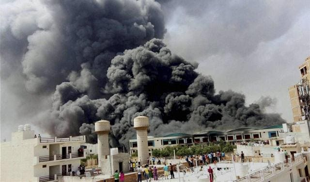 Fire at the manufacturing facility at Manesar, Gurgaon on Sunday.