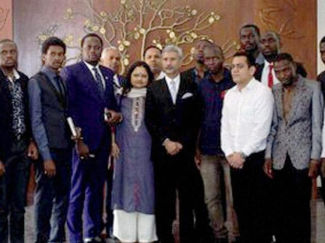 Foreign secretary S Jaishankar with a group of African students in New Delhi on Monday.