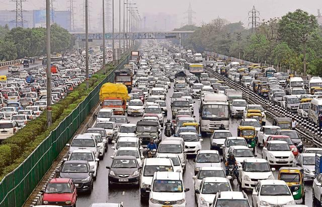 Rain also added to commuters' woes on Monday morning with snarls slowing down traffic on both sides of the Gurgaon Expressway between CyberHub and IFFCO Chowk.