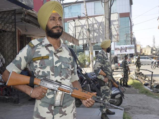 Paramilitary troops deployed at Lawrance Road ahead of Operation Bluestar anniversary at Golden Temple in  Amritsar on Monday.