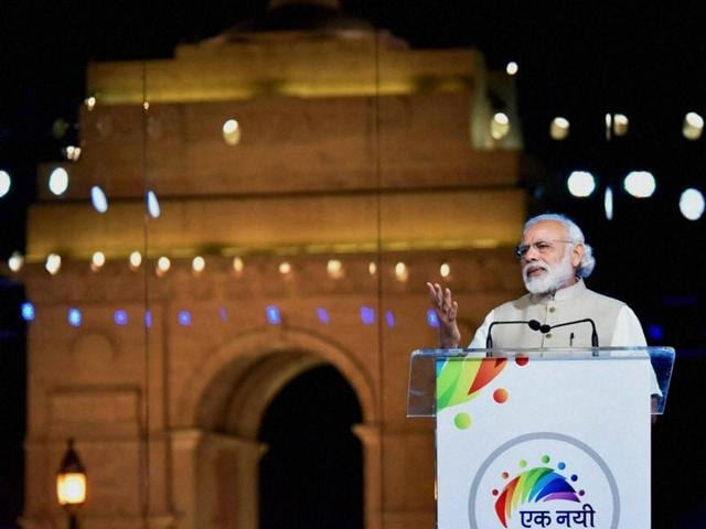 Prime Minister Narendra Modi addressing people at the Ek Nayi Subah event that marked two years of NDA, at India Gate in New Delhi on May 28.