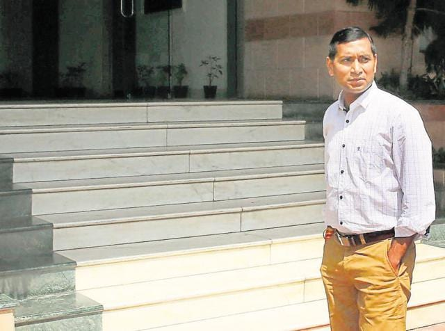 IASofficer Niraj K Pawan outside the Anti-Corruption Bureau in Jaipur .