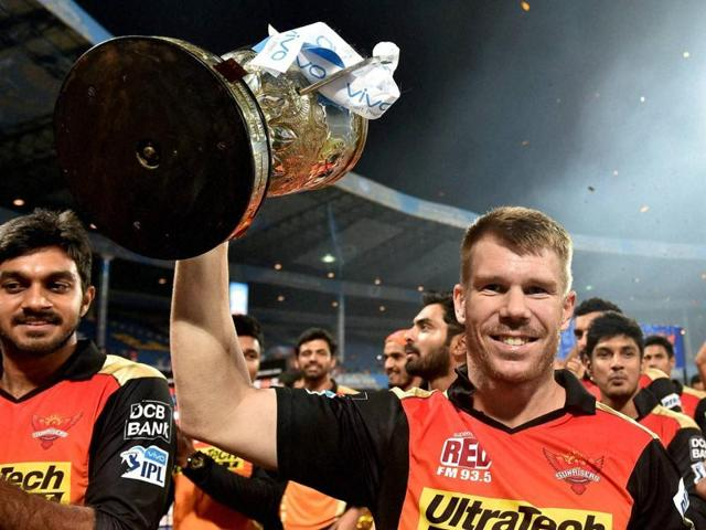 Sunrisers Hyderabad skipper David Warner with the winners trophy of IPL 2016 after beating Royal Challengers Bangalore in the final.