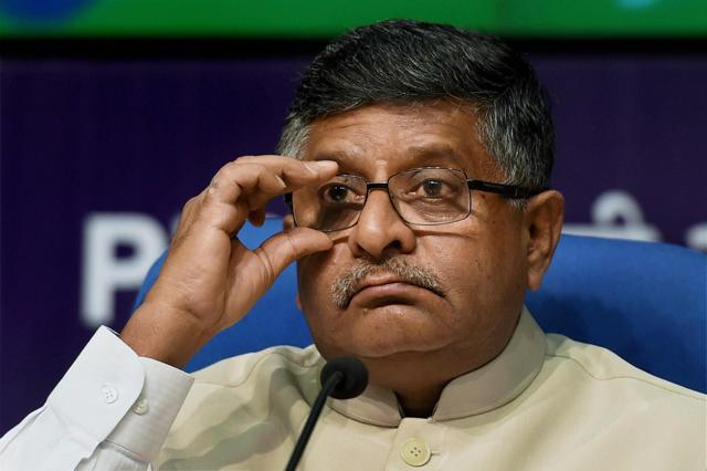 Union minister for communication & IT, Ravi Shankar Prasad at a press conference to highlight the achievements of his ministry in the two years of NDA government, at the National Media Centre in New Delhi on Monday.