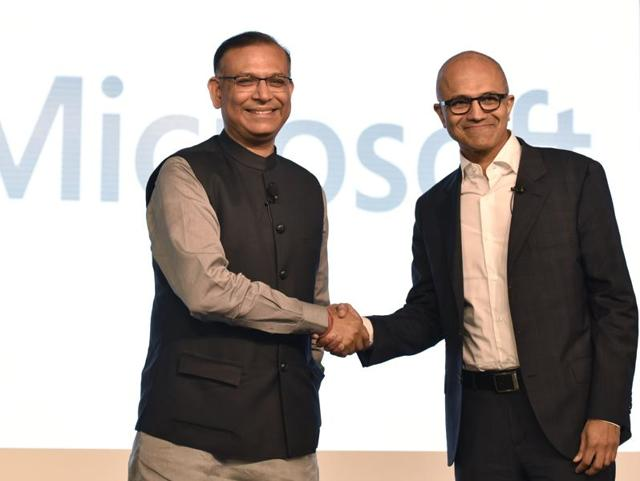 Satya Nadella, the CEOof Microsoft Corporation, with junior finance minister Jayant Sinha at an event in New Delhi on Monday.