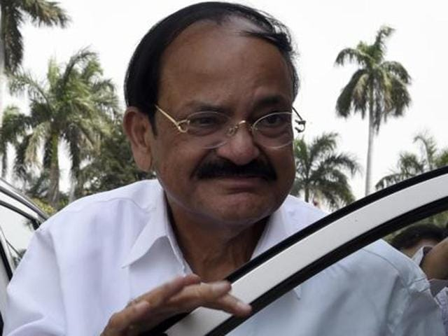 """File photo of Union minister Venkaiah Naidu. A private jet carrying Naidu and Rajiv Pratap Rudy aborted take off from the Delhi airport due to a """"fuel warning""""."""