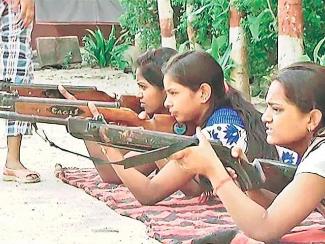 Training in progress at the Bharatiya Shiksha Mandir Inter College in Varanasi on Monday.
